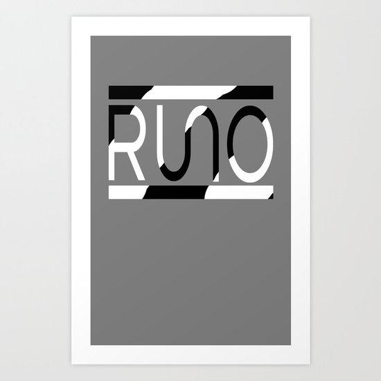 Rue Nothing RUNO Logo Zebra Art Print