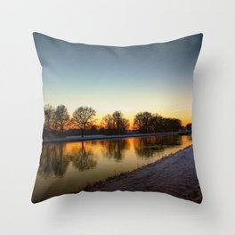 Winter sun early morning waterfront Throw Pillow