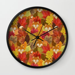 Foxes Hiding in the Fall Leaves - Autumn Fox Wall Clock