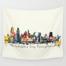 Philadelphia skyline comic Wall Tapestry