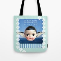 glee Tote Bags featuring ocean glee  by Kelli May-Krenz