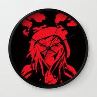 red hood Wall Clocks featuring Miss Red riding hood  by Sammycrafts