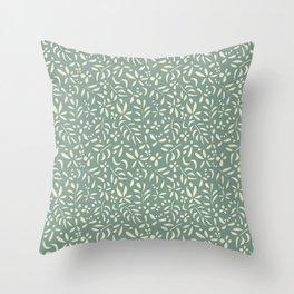 Damask: Cream on Light Green Throw Pillow