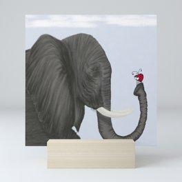 Bertha The Elephant And Her Visitor Mini Art Print