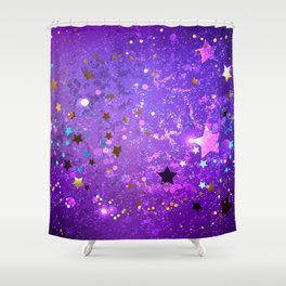 Purple Background with Stars Shower Curtain