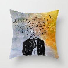 Man-Birds Throw Pillow