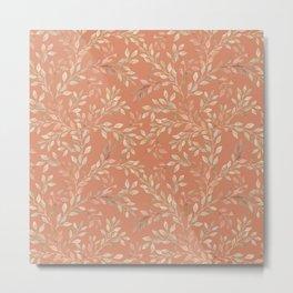 Rust orange beige autumn falling leaves watercolor pattern Metal Print