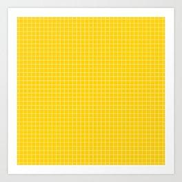 Yellow Grid White Line Art Print