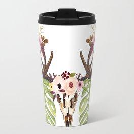 Exotic Tropical Floral Leaves Skull Antlers Travel Mug