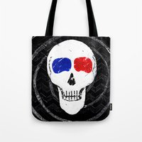movies Tote Bags featuring Movies Movies, 'til I Die by Because Skulls