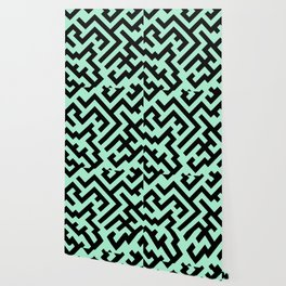 Black and Magic Mint Green Diagonal Labyrinth Wallpaper