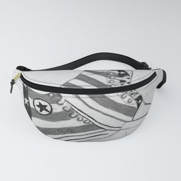 black and white rock and roll Fanny Pack