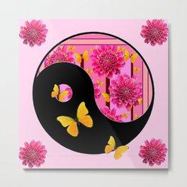 YING-YANG PINK DAHLIAS BUTTERFLY ART Metal Print