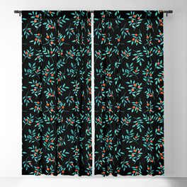 Botanical Teal Branches in Black  Blackout Curtain