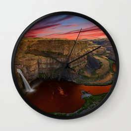 Image Washington USA Palouse Falls Crag Nature canyons Waterfalls Rock Cliff Canyon Wall Clock