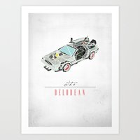 delorean Art Prints featuring The Delorean by Josh Ln