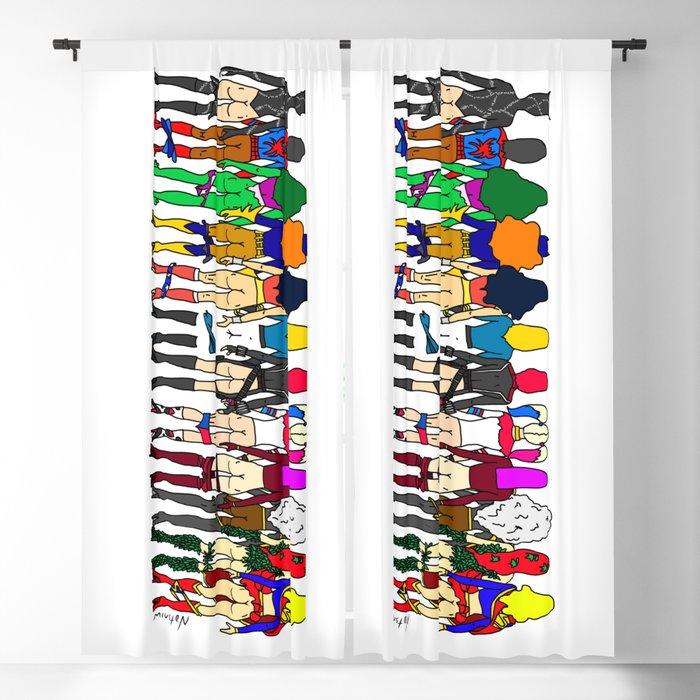 Superhero Butts - Girls - Row Version - Superheroine Blackout Curtain