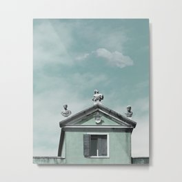 Mint Building on Aqua with Clouds and Sculptures Metal Print