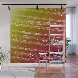 Double Bass Concerto Music on Red Wall Mural
