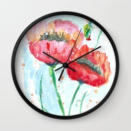 Poppy flowers no 4 Summer illustration watercolor painting Wall Clock