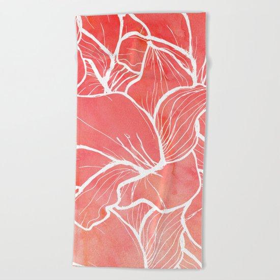 Modern white handdrawn flowers coral watercolor pattern Beach Towel