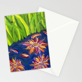 Flowers Float by Ladybug Grass Stationery Cards