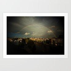 Rainbow in Amsterdam Art Print