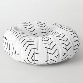 mudcloth pattern white black arrows Floor Pillow