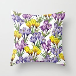 Purple & Yellow Crocus Pattern - Colorful Flowers For Spring Throw Pillow