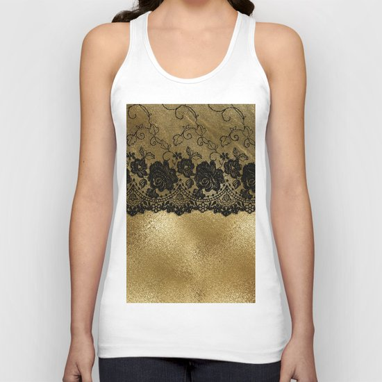 Black luxury lace on gold glitter effect metal- Elegant design on #Society6 Unisex Tank Top