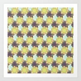 Trendy modern lime green black cactus floral pattern Art Print