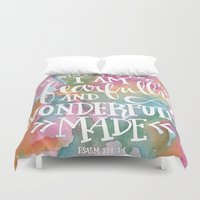 scripture Duvet Covers featuring Fearfully and Wonderfully Made - Watercolor Scripture by Misty Diller by Misty Diller of Misty Michelle Design