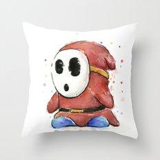 Shy Guy Watercolor Mario Art Throw Pillow