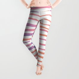 Irregular watercolor lines - pastel pink and ultraviolet Leggings