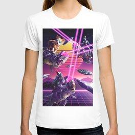 Space Shark Lizard Corgi Alien On Laser Dinosaur T-shirt