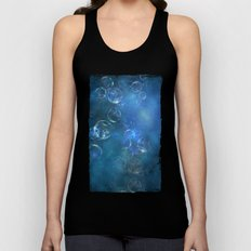 floating bubbles blue watercolor space background Unisex Tank Top