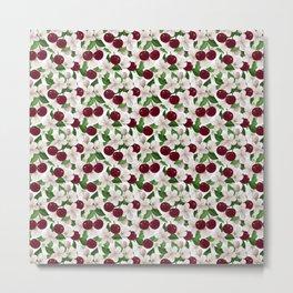 Blush pink burgundy cherries blossom floral pattern Metal Print