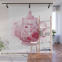 Time for tea and a good book Wall Mural