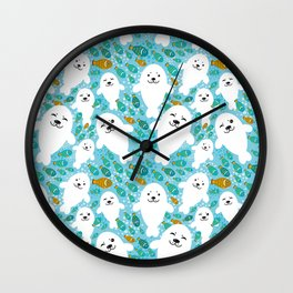 White cute fur seal and fish in water Wall Clock