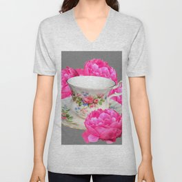 FLORAL TEA CUP & PEONY FLOWERS YELLOW ART Unisex V-Neck