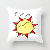 you are my sunshine Throw Pillows featuring Sunshine  by BriannaCamp