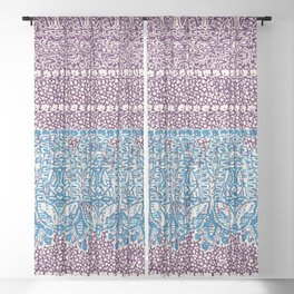 big paisley with floral lines on burgundy Sheer Curtain