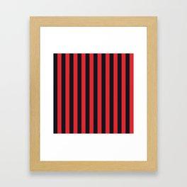 Vertical Stripes Black & Red Framed Art Print