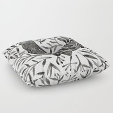 Le Coq – Watercolor Rooster with Black Leaves Floor Pillow