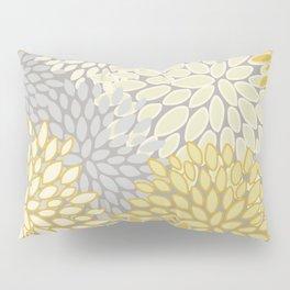 Floral Prints, Soft Yellow and Gray, Modern Print Art Pillow Sham