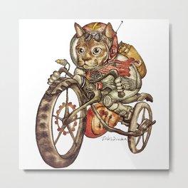 Berserk Steampunk Motorcycle Cat New Color Metal Print
