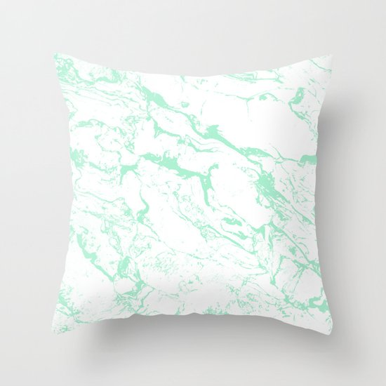 Throw Pillow Trends 2015 : Trendy modern pastel mint green white marble pattern by Girly Trend Throw Pillow by Girly Trend ...