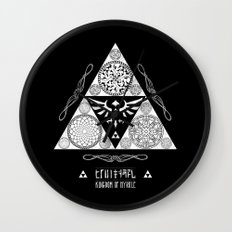 Legend of Zelda Kingdom of Hyrule Crest Letterpress Vector Art Wall Clock