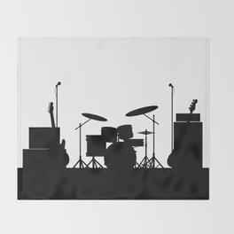 Rock Band Equipment Silhouette Throw Blanket