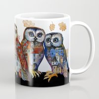 medieval Mugs featuring medieval owls by oxana zaika